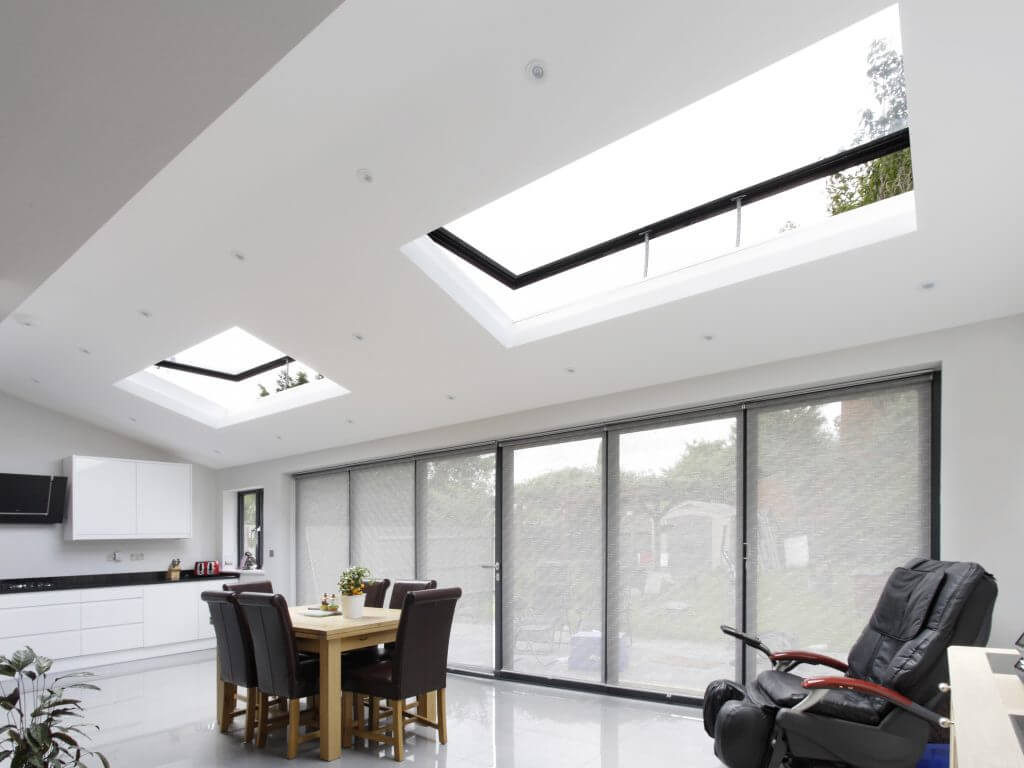 Hinged rooflights and bi-fold doors