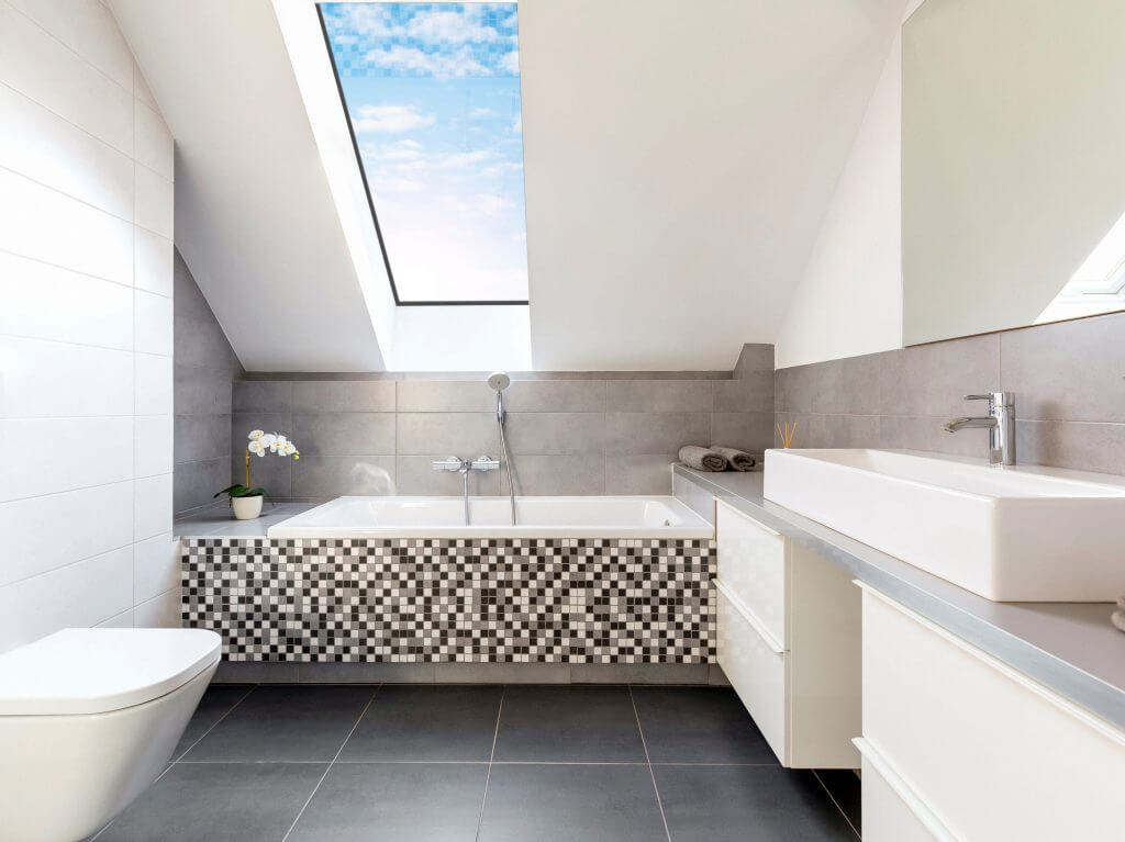 Luxlite installed in a contemporary bathroom