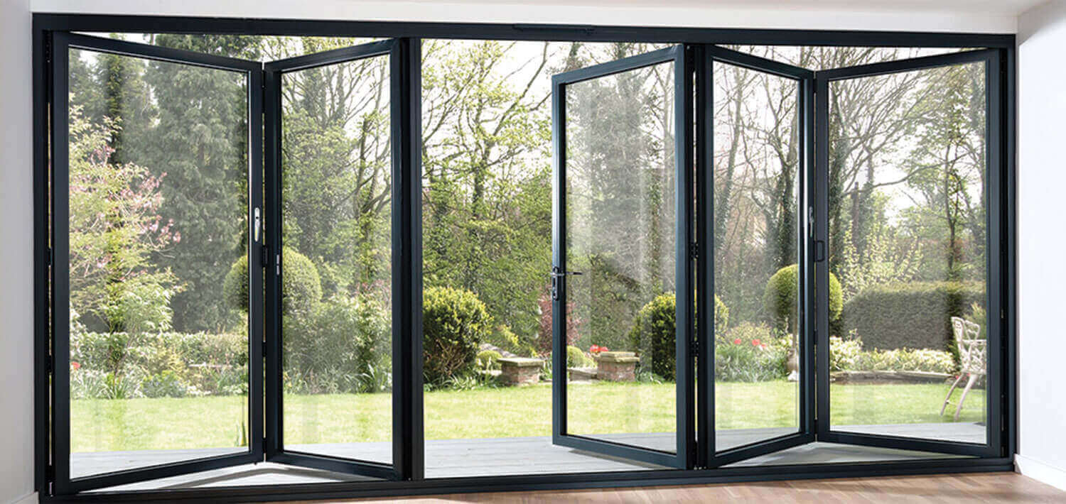 Aluminium bifold doors roof maker for Full window exterior door