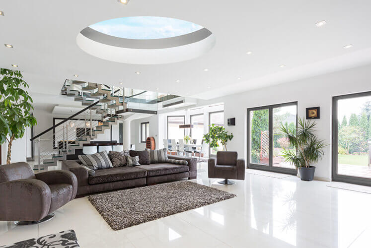 round rooflight in house