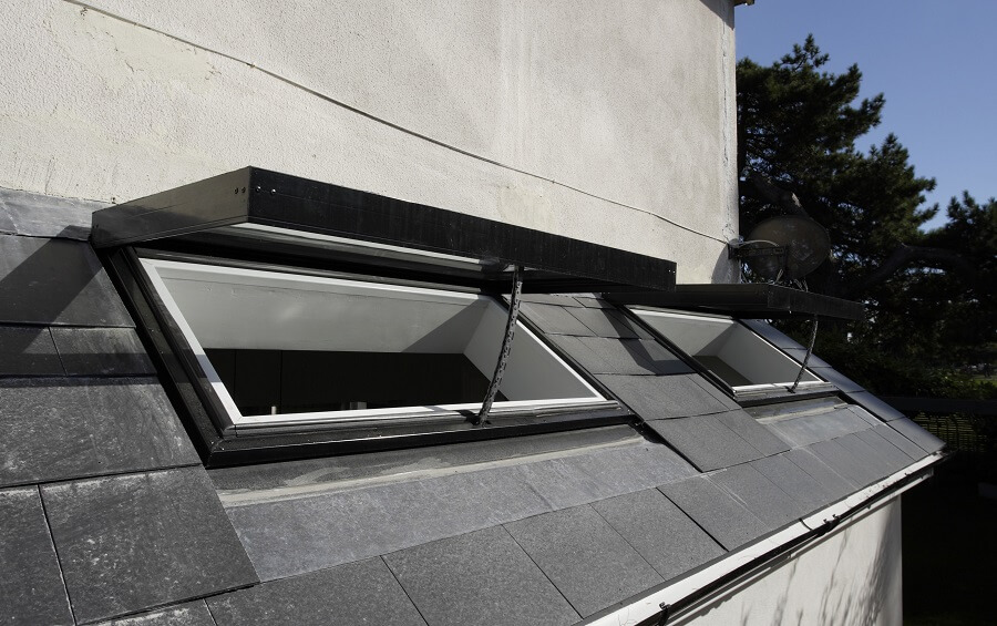 Opening pitched rooflight