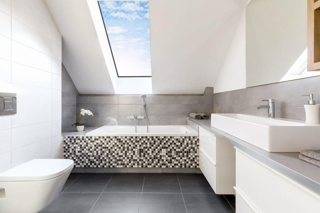 pitched rooflight in bathroom