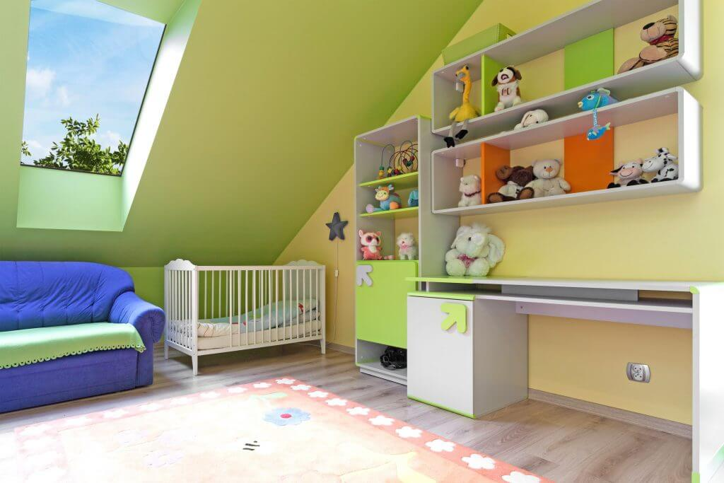 Pitched rooflight in child's bedroom