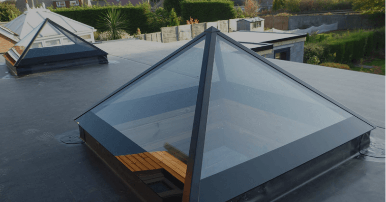 Pyramid rooflight on flat roof