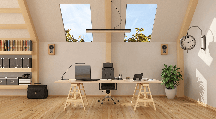 Two parallel Roof Maker Luxlites in an office setting