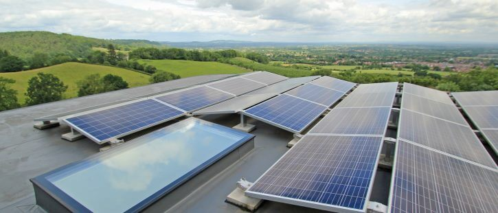 rooflight and solar panels in malvern hills